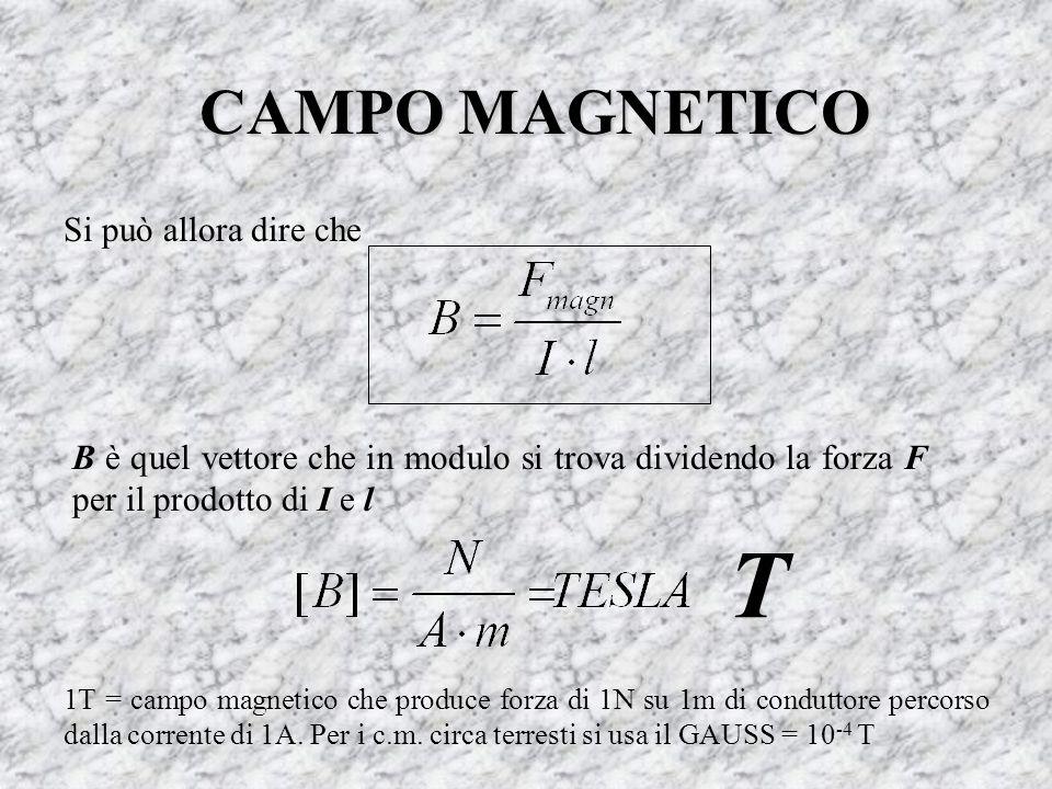 CAMPO MAGNETICO Si può allora dire che B è quel vettore che in modulo si trova dividendo la forza F per il prodotto di I e l T 1T = campo magnetico ch