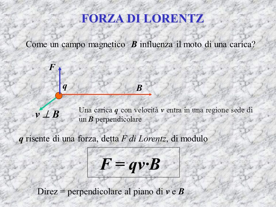 FORZA DI LORENTZ Come un campo magnetico B influenza il moto di una carica? B v B Una carica q con velocità v entra in una regione sede di un B perpen
