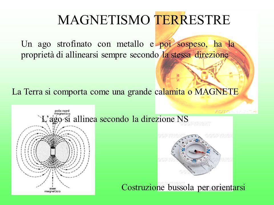 MAGNETISMO TERRESTRE Un ago strofinato con metallo e poi sospeso, ha la proprietà di allinearsi sempre secondo la stessa direzione La Terra si comport