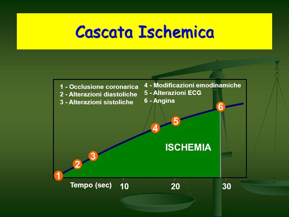 4 - Modificazioni emodinamiche 5 - Alterazioni ECG 6 - Angina Cascata Ischemica 102030 1 1 2 2 3 3 4 4 5 5 6 6 1 - Occlusione coronarica 2 - Alterazioni diastoliche 3 - Alterazioni sistoliche Tempo (sec) ISCHEMIA