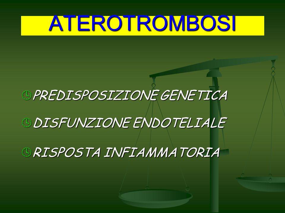ATEROTROMBOSI PREDISPOSIZIONE GENETICA PREDISPOSIZIONE GENETICA DISFUNZIONE ENDOTELIALE DISFUNZIONE ENDOTELIALE RISPOSTA INFIAMMATORIA RISPOSTA INFIAMMATORIA