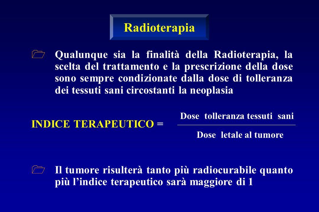 Qualunque sia la finalità della Radioterapia, la scelta del trattamento e la prescrizione della dose sono sempre condizionate dalla dose di tolleranza