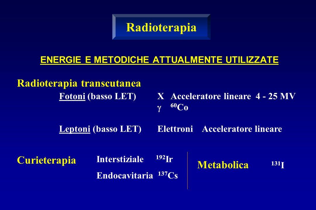 ENERGIE E METODICHE ATTUALMENTE UTILIZZATE Radioterapia transcutanea Fotoni (basso LET)X Acceleratore lineare 4 - 25 MV 60 Co Leptoni (basso LET)Elett