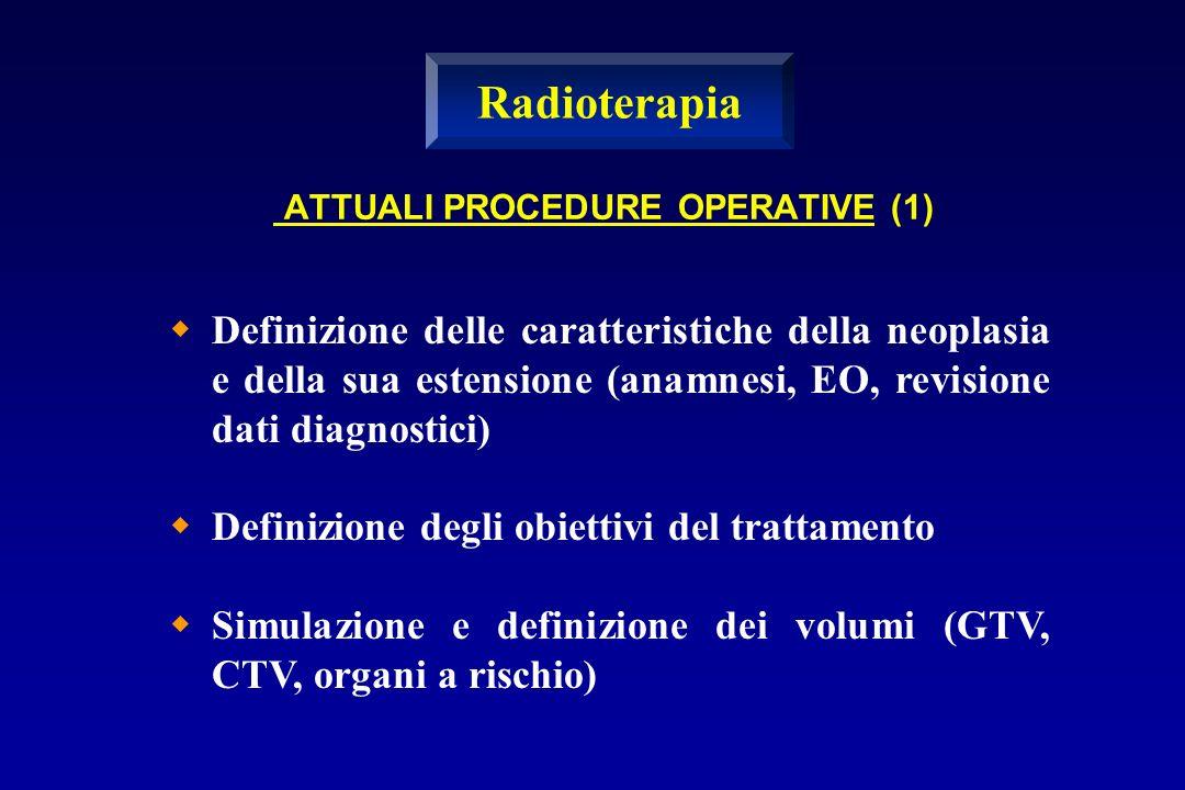 ATTUALI PROCEDURE OPERATIVE (1) Definizione delle caratteristiche della neoplasia e della sua estensione (anamnesi, EO, revisione dati diagnostici) De