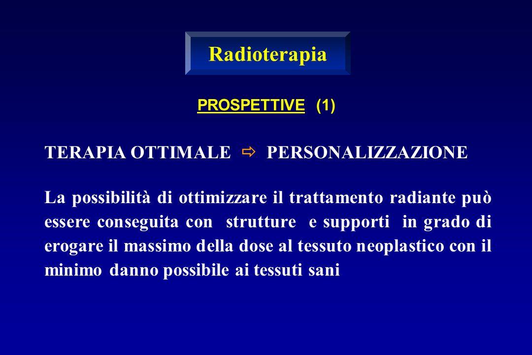 PROSPETTIVE (1) TERAPIA OTTIMALE PERSONALIZZAZIONE La possibilità di ottimizzare il trattamento radiante può essere conseguita con strutture e support