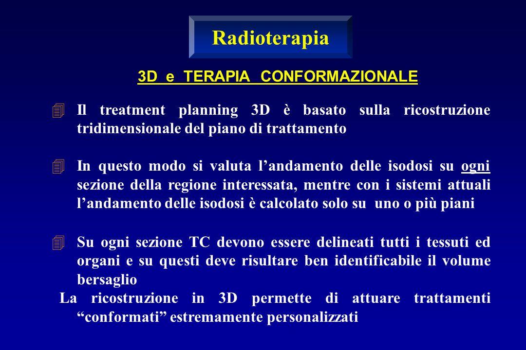 3D e TERAPIA CONFORMAZIONALE Il treatment planning 3D è basato sulla ricostruzione tridimensionale del piano di trattamento In questo modo si valuta l