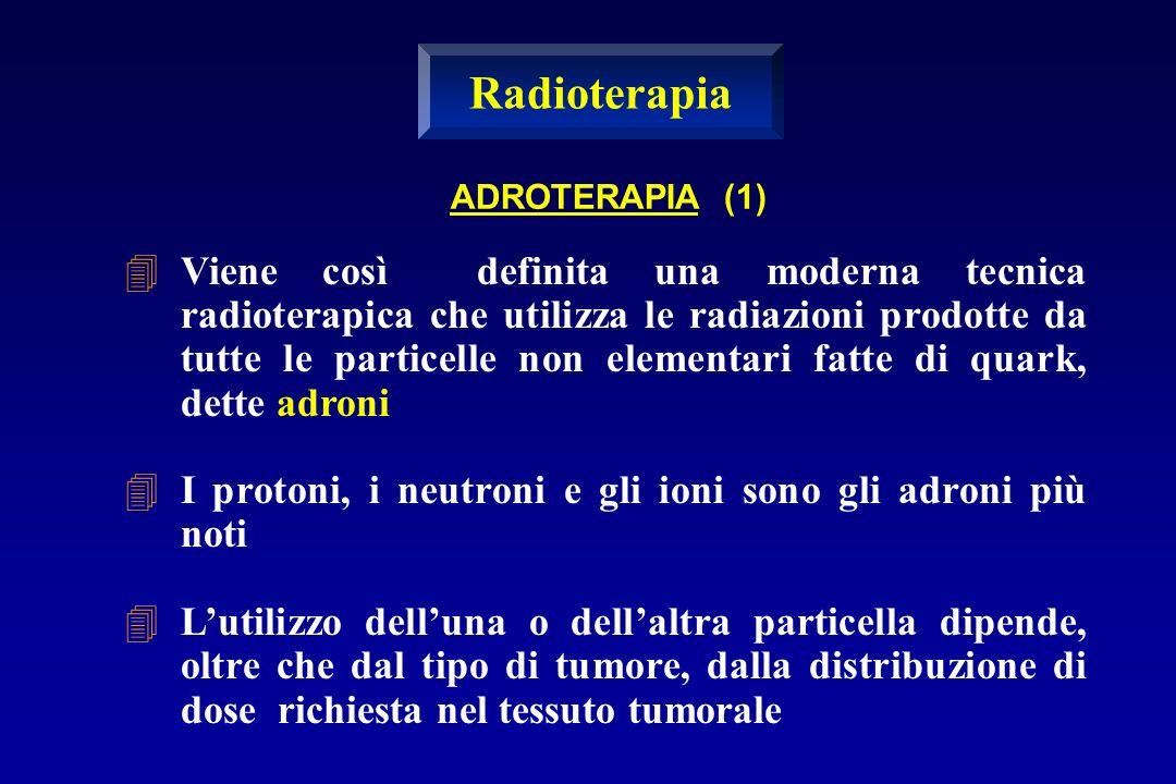 ADROTERAPIA (1) Viene così definita una moderna tecnica radioterapica che utilizza le radiazioni prodotte da tutte le particelle non elementari fatte