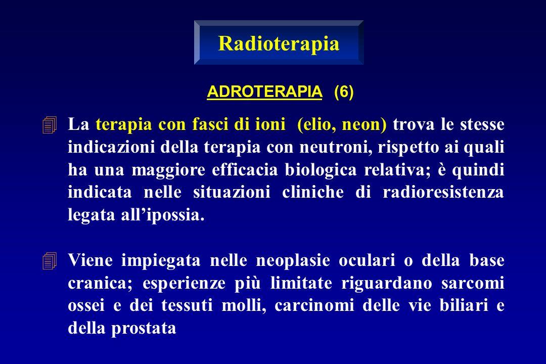 La terapia con fasci di ioni (elio, neon) trova le stesse indicazioni della terapia con neutroni, rispetto ai quali ha una maggiore efficacia biologic