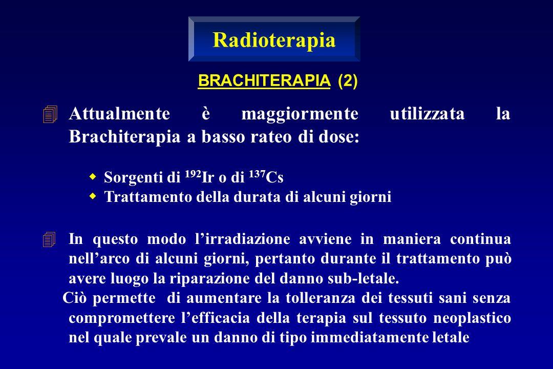 Attualmente è maggiormente utilizzata la Brachiterapia a basso rateo di dose: Sorgenti di 192 Ir o di 137 Cs Trattamento della durata di alcuni giorni