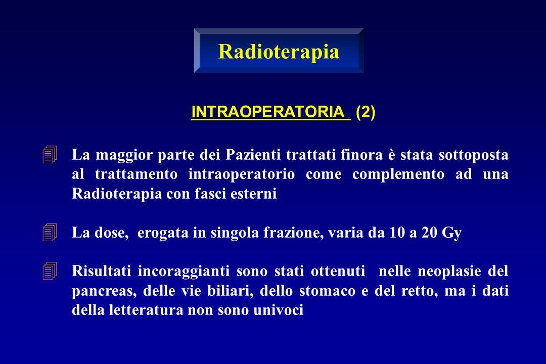 La maggior parte dei Pazienti trattati finora è stata sottoposta al trattamento intraoperatorio come complemento ad una Radioterapia con fasci esterni