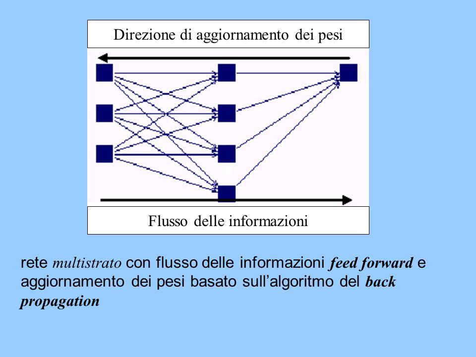 Direzione di aggiornamento dei pesi Flusso delle informazioni rete multistrato con flusso delle informazioni feed forward e aggiornamento dei pesi bas