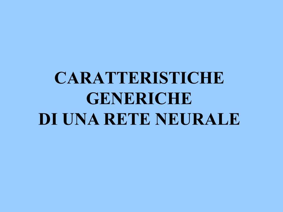 CARATTERISTICHE GENERICHE DI UNA RETE NEURALE