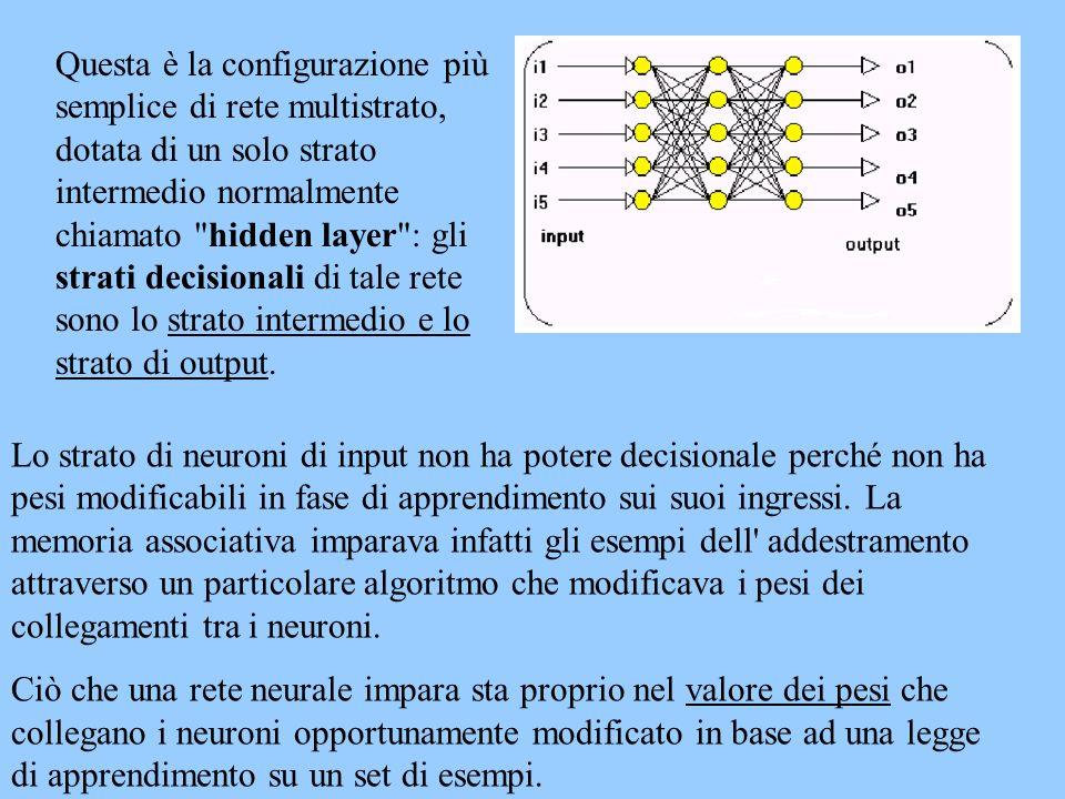 Lo strato di neuroni di input non ha potere decisionale perché non ha pesi modificabili in fase di apprendimento sui suoi ingressi. La memoria associa