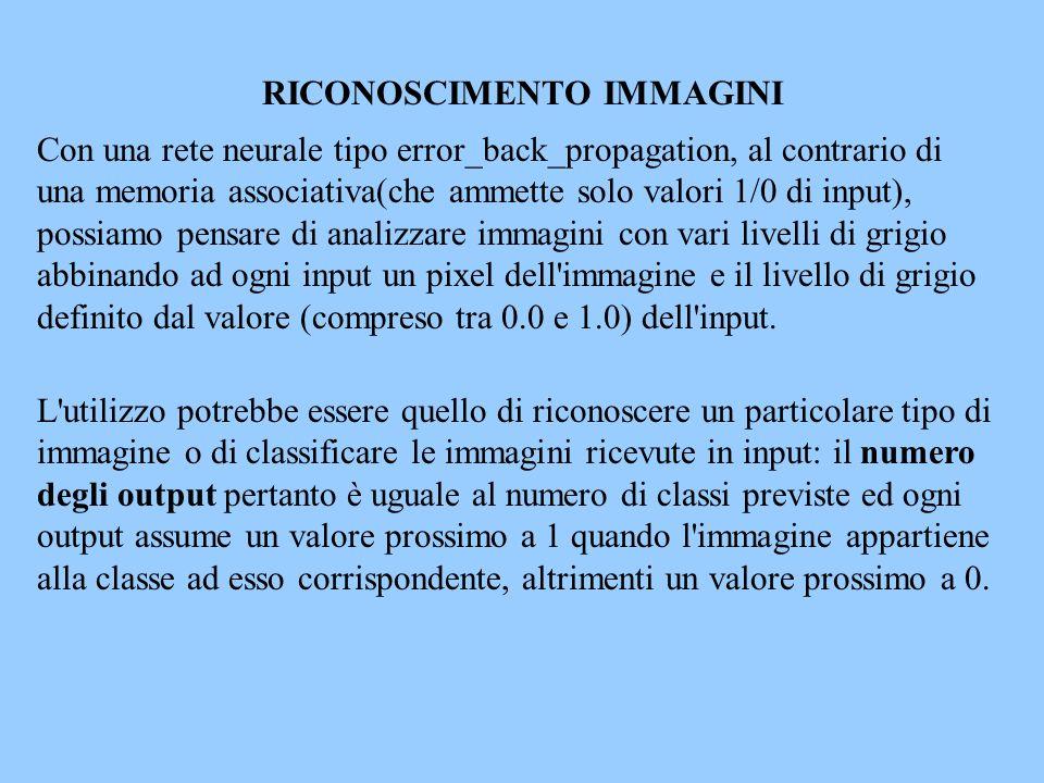Con una rete neurale tipo error_back_propagation, al contrario di una memoria associativa(che ammette solo valori 1/0 di input), possiamo pensare di a