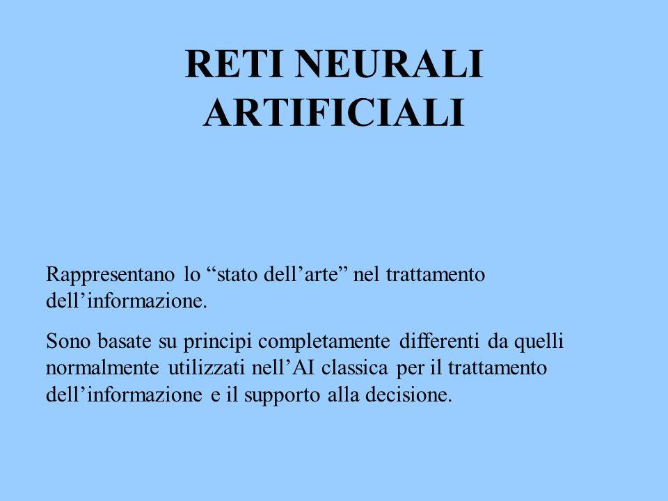 RETI NEURALI ARTIFICIALI Rappresentano lo stato dellarte nel trattamento dellinformazione. Sono basate su principi completamente differenti da quelli