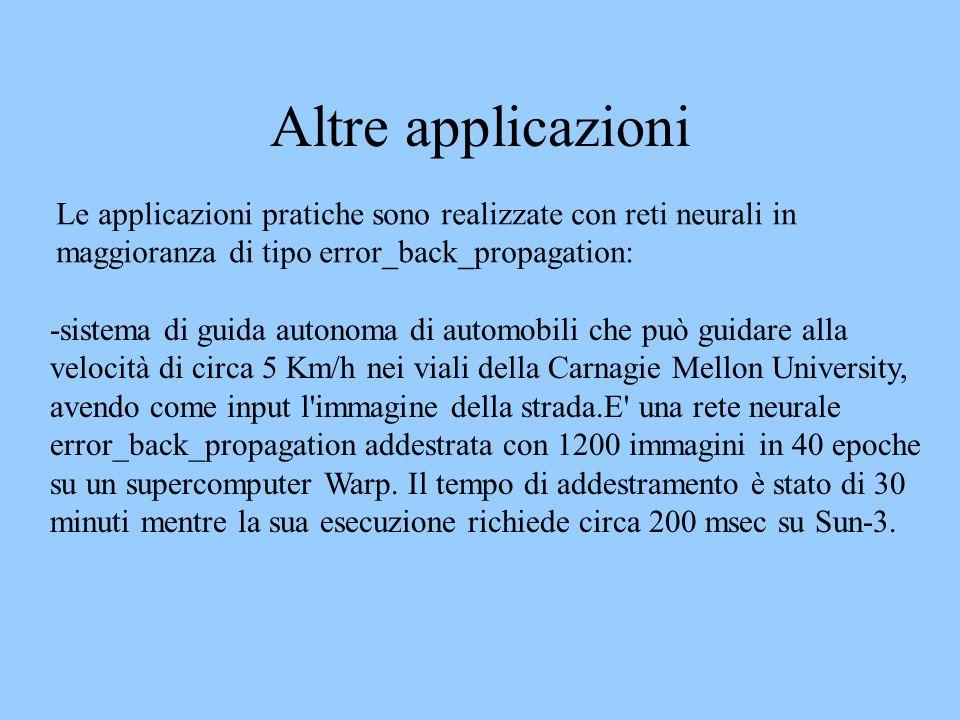 Altre applicazioni Le applicazioni pratiche sono realizzate con reti neurali in maggioranza di tipo error_back_propagation: -sistema di guida autonoma