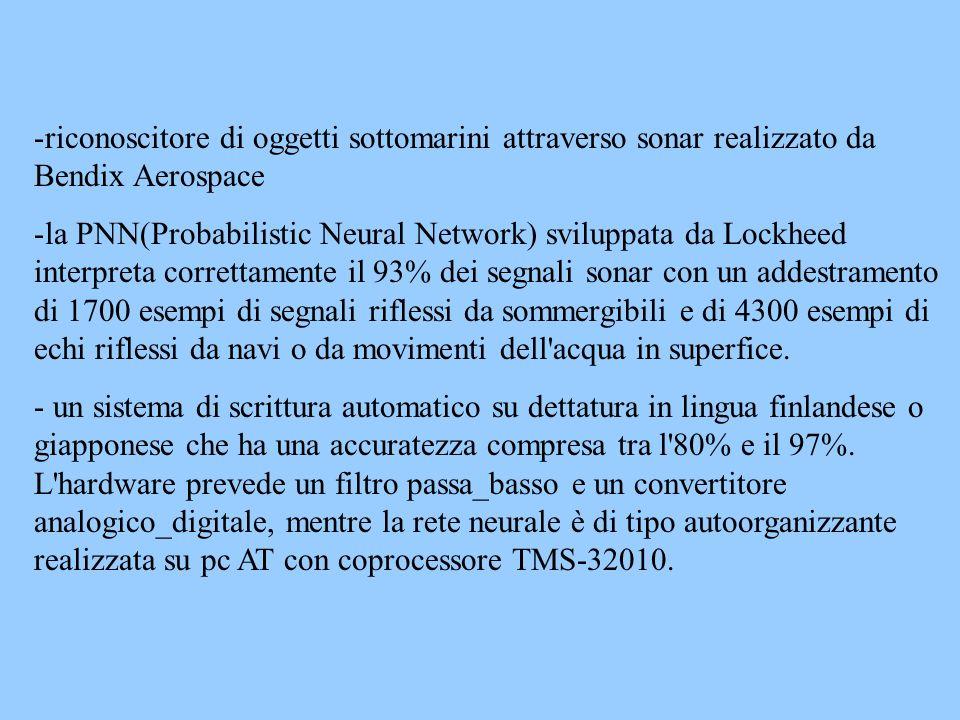-riconoscitore di oggetti sottomarini attraverso sonar realizzato da Bendix Aerospace -la PNN(Probabilistic Neural Network) sviluppata da Lockheed int