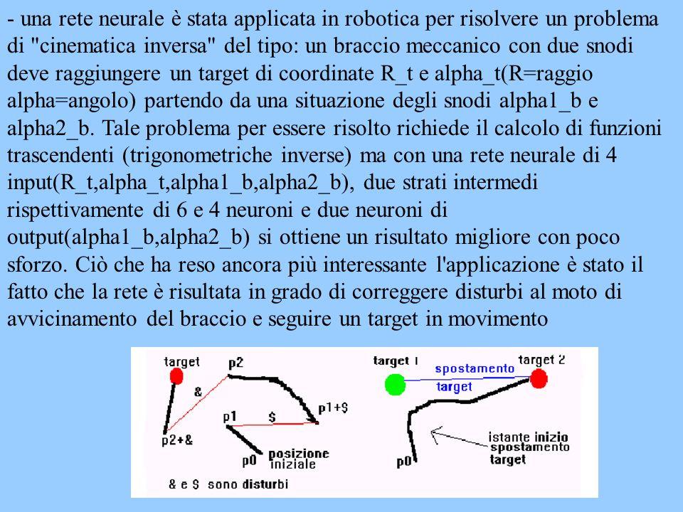 - una rete neurale è stata applicata in robotica per risolvere un problema di