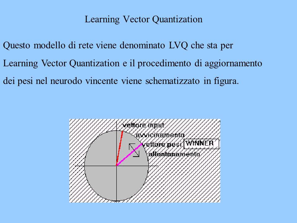 Questo modello di rete viene denominato LVQ che sta per Learning Vector Quantization e il procedimento di aggiornamento dei pesi nel neurodo vincente