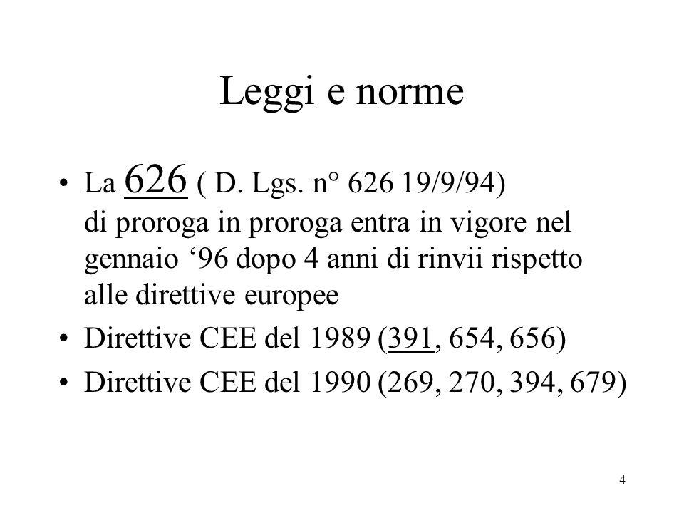 4 Leggi e norme La 626 ( D.Lgs.