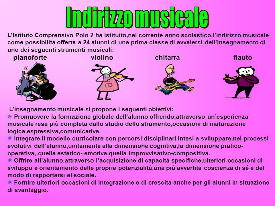 LIstituto Comprensivo Polo 2 ha istituito,nel corrente anno scolastico,lindirizzo musicale come possibilità offerta a 24 alunni di una prima classe di