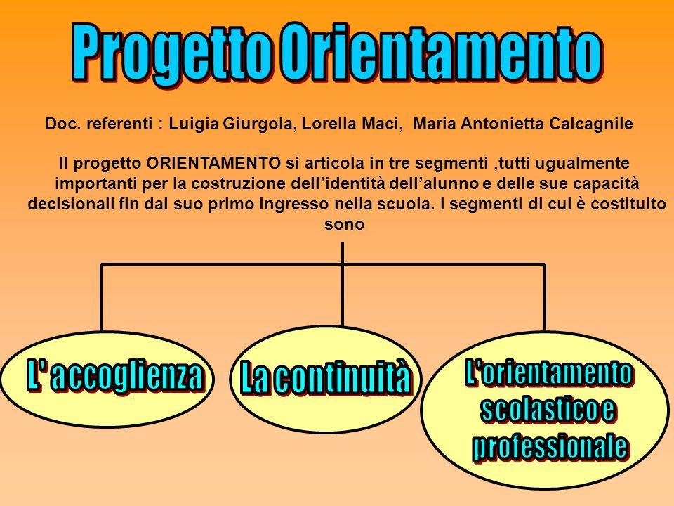 Doc. referenti : Luigia Giurgola, Lorella Maci, Maria Antonietta Calcagnile Il progetto ORIENTAMENTO si articola in tre segmenti,tutti ugualmente impo