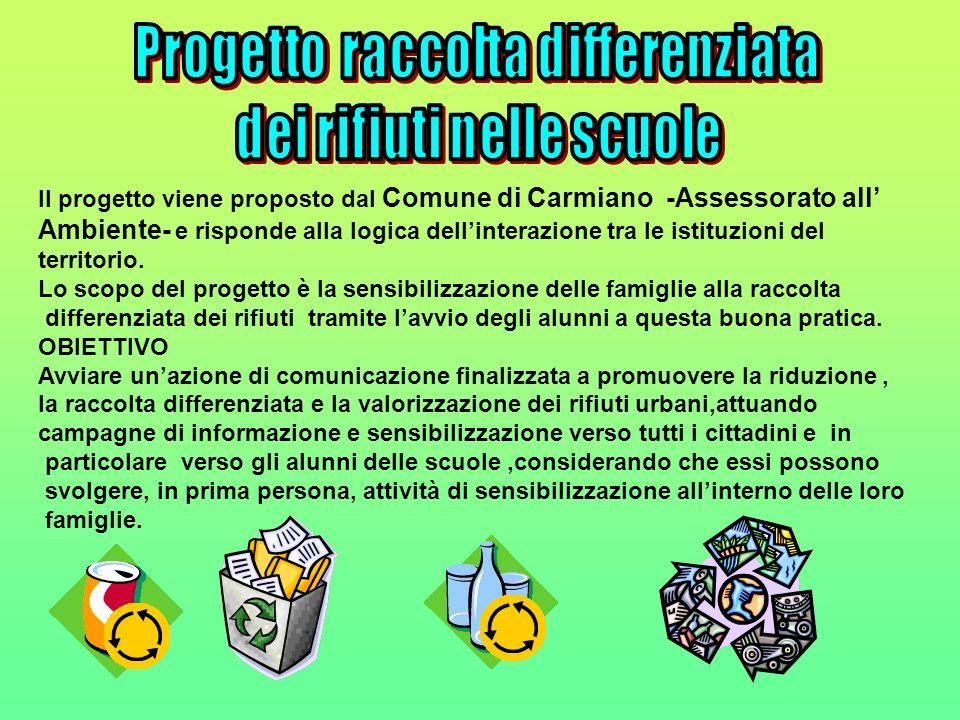 Il progetto viene proposto dal Comune di Carmiano -Assessorato all Ambiente- e risponde alla logica dellinterazione tra le istituzioni del territorio.