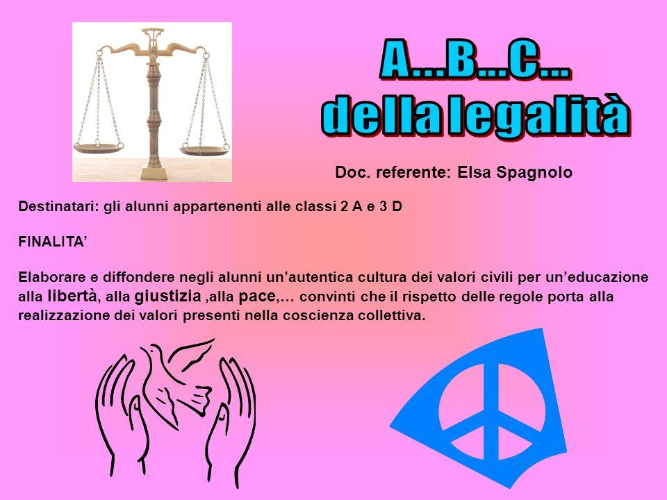 Doc. referente: Elsa Spagnolo Destinatari: gli alunni appartenenti alle classi 2 A e 3 D FINALITA Elaborare e diffondere negli alunni unautentica cult