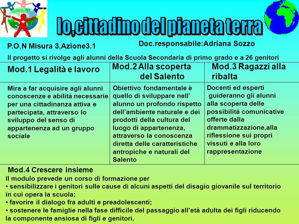 P.O.N Misura 3,Azione3.1 Doc.responsabile:Adriana Sozzo Il progetto si rivolge agli alunni della Scuola Secondaria di primo grado e a 26 genitori Mod.