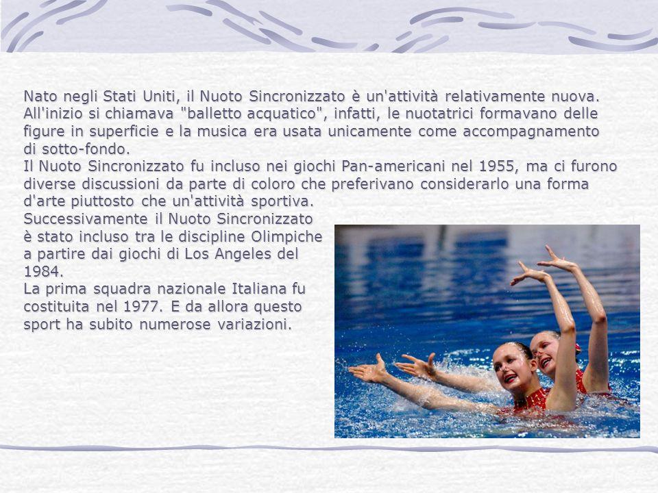 Nato negli Stati Uniti, il Nuoto Sincronizzato è un'attività relativamente nuova. All'inizio si chiamava