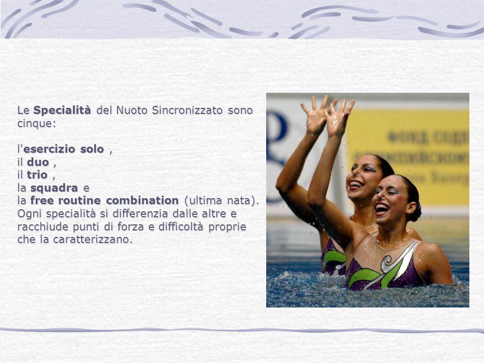 Le Specialità del Nuoto Sincronizzato sono cinque: l'esercizio solo, il duo, il trio, la squadra e la free routine combination (ultima nata). Ogni spe