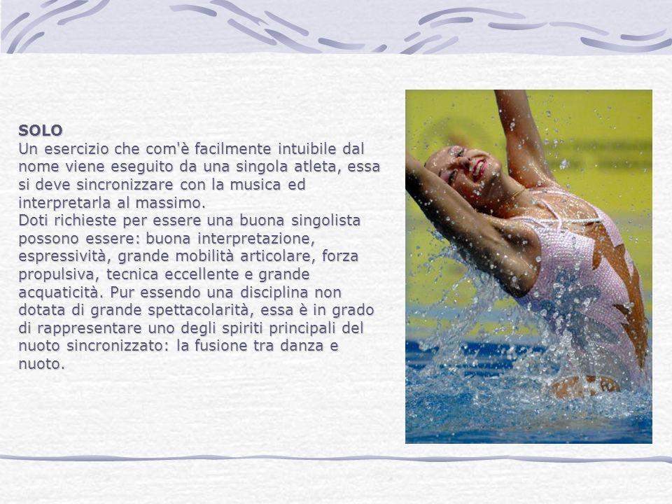 DUO Esercizio eseguito in sincronia da due atlete.