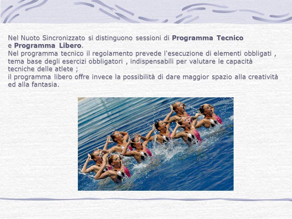 Nel Nuoto Sincronizzato si distinguono sessioni di Programma Tecnico e Programma Libero. Nel programma tecnico il regolamento prevede l'esecuzione di