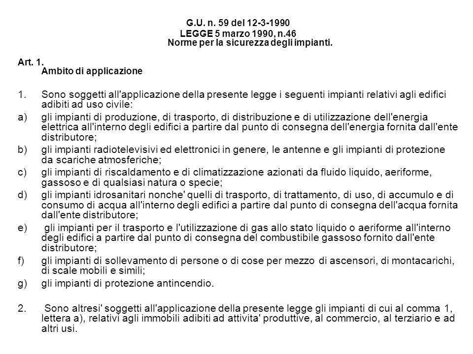 G.U. n. 59 del 12-3-1990 LEGGE 5 marzo 1990, n.46 Norme per la sicurezza degli impianti. Art. 1. Ambito di applicazione 1.Sono soggetti all'applicazio
