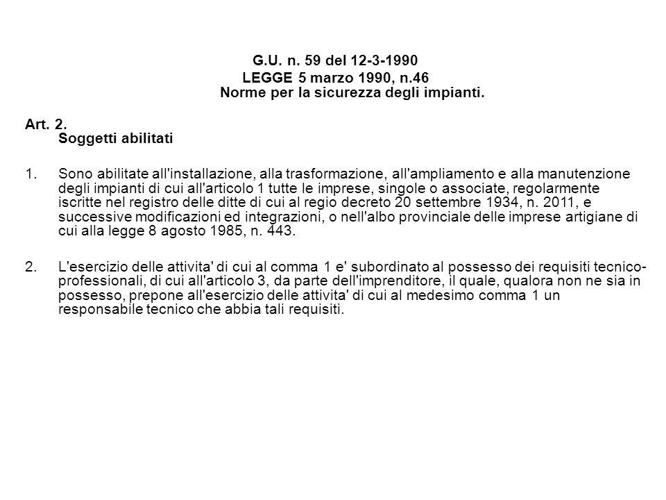 G.U. n. 59 del 12-3-1990 LEGGE 5 marzo 1990, n.46 Norme per la sicurezza degli impianti. Art. 2. Soggetti abilitati 1.Sono abilitate all'installazione