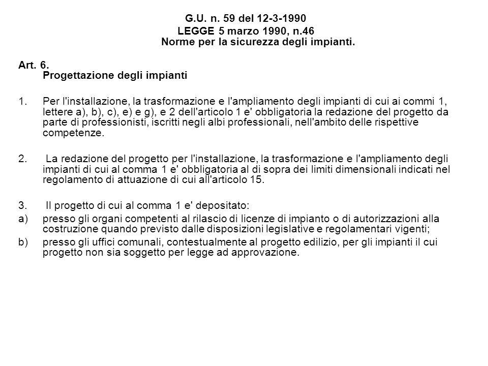 G.U. n. 59 del 12-3-1990 LEGGE 5 marzo 1990, n.46 Norme per la sicurezza degli impianti. Art. 6. Progettazione degli impianti 1.Per l'installazione, l