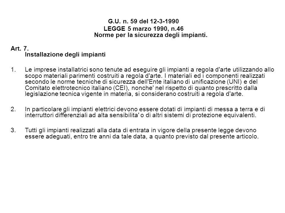 G.U. n. 59 del 12-3-1990 LEGGE 5 marzo 1990, n.46 Norme per la sicurezza degli impianti. Art. 7. Installazione degli impianti 1.Le imprese installatri