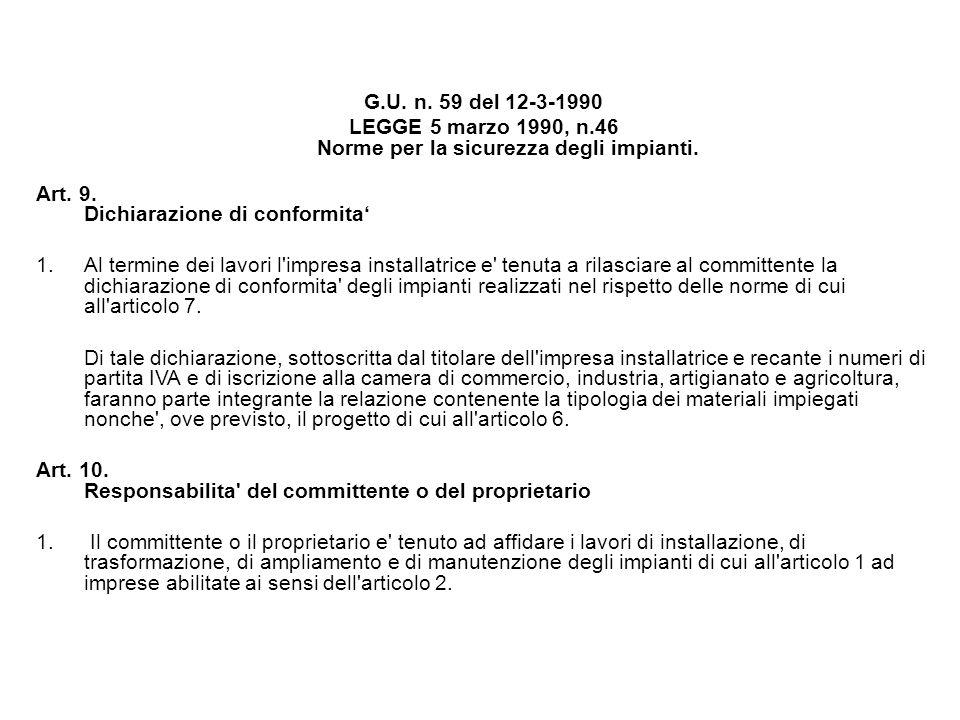 G.U. n. 59 del 12-3-1990 LEGGE 5 marzo 1990, n.46 Norme per la sicurezza degli impianti. Art. 9. Dichiarazione di conformita 1.Al termine dei lavori l