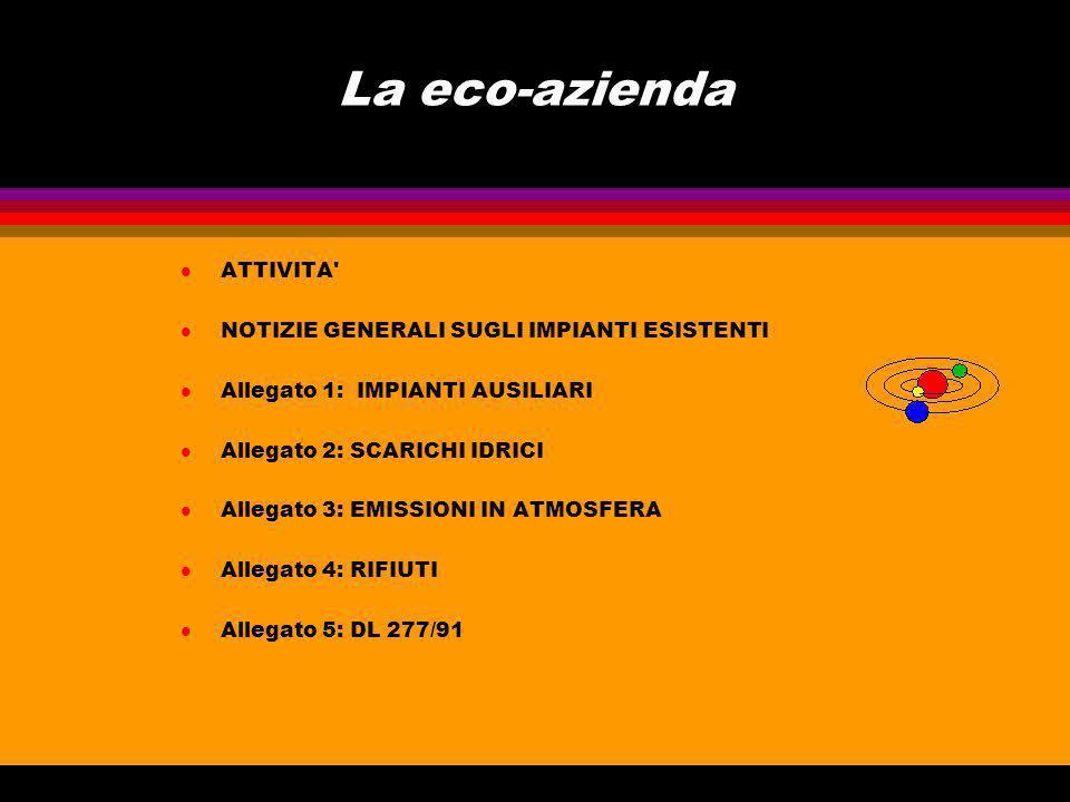 La eco-azienda l ATTIVITA l NOTIZIE GENERALI SUGLI IMPIANTI ESISTENTI l Allegato 1: IMPIANTI AUSILIARI l Allegato 2: SCARICHI IDRICI l Allegato 3: EMISSIONI IN ATMOSFERA l Allegato 4: RIFIUTI l Allegato 5: DL 277/91
