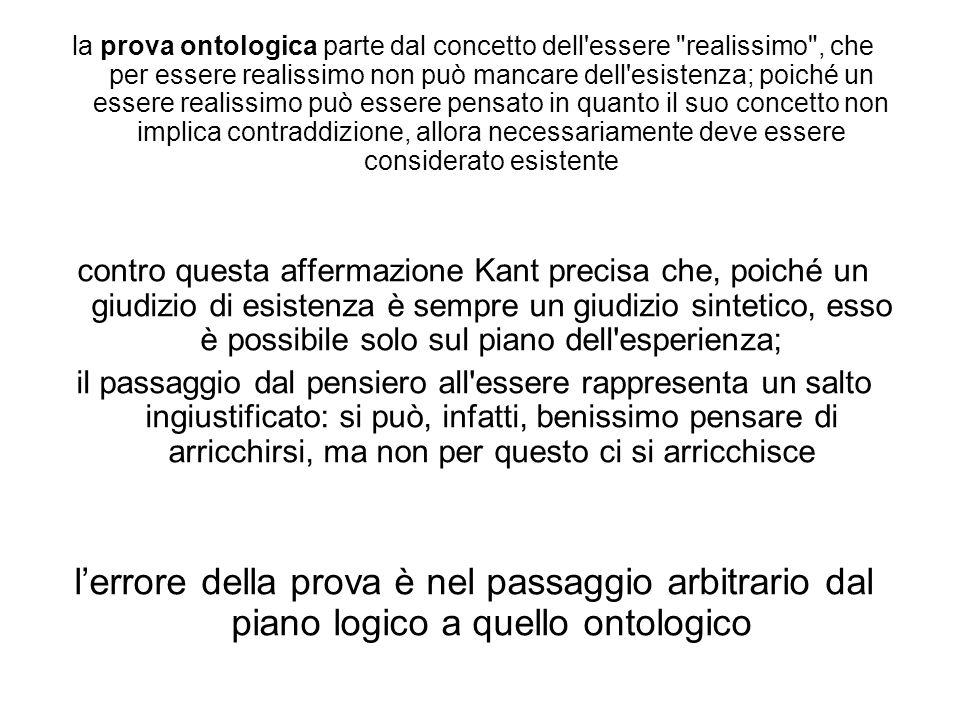 la prova ontologica parte dal concetto dell'essere