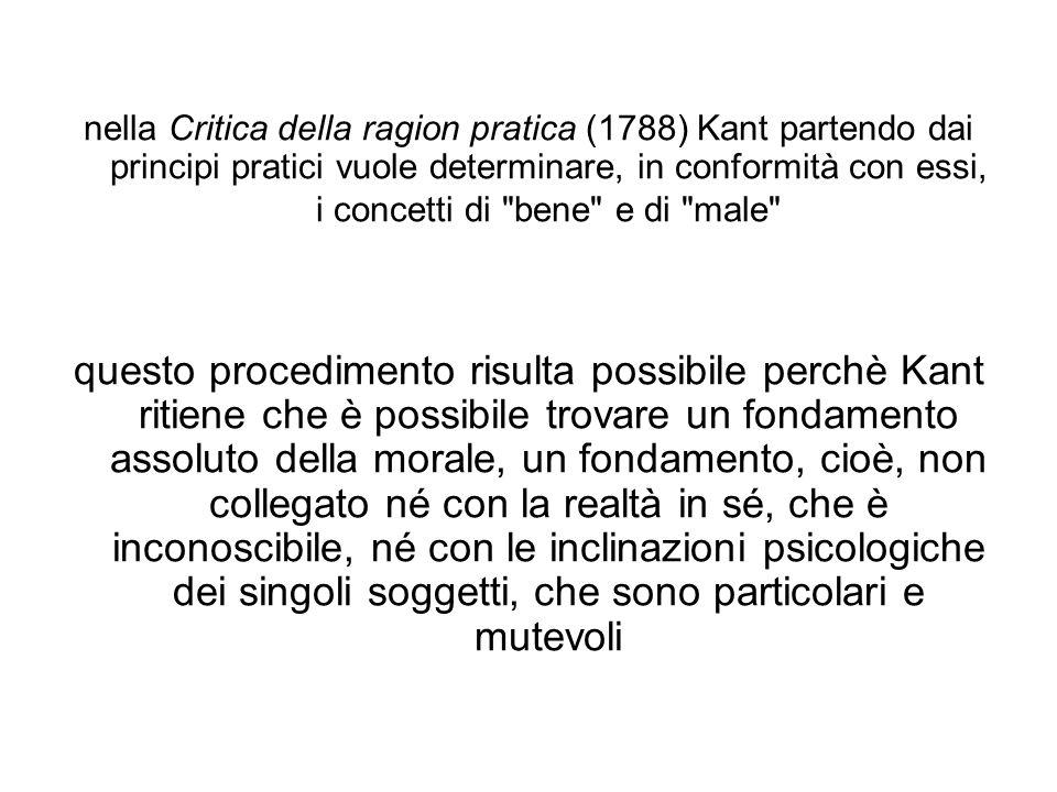 nella Critica della ragion pratica (1788) Kant partendo dai principi pratici vuole determinare, in conformità con essi, i concetti di