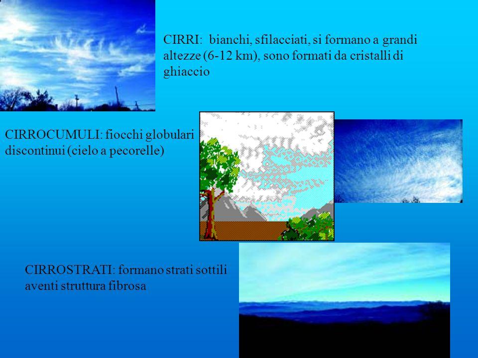 CIRRI: bianchi, sfilacciati, si formano a grandi altezze (6-12 km), sono formati da cristalli di ghiaccio CIRROCUMULI: fiocchi globulari discontinui (