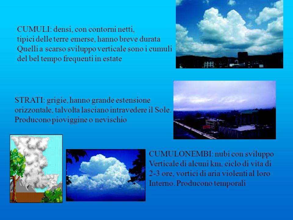 CUMULI: densi, con contorni netti, tipici delle terre emerse, hanno breve durata Quelli a scarso sviluppo verticale sono i cumuli del bel tempo freque