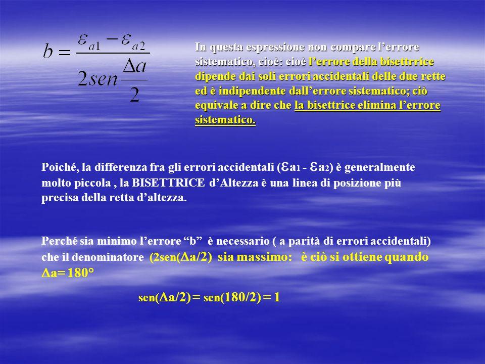 In questa espressione non compare lerrore sistematico, cioè: cioè lerrore della bisettrrice dipende dai soli errori accidentali delle due rette ed è i
