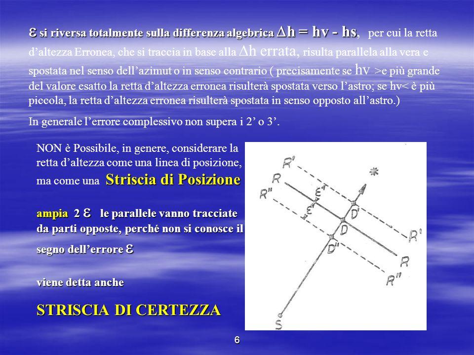 6 si riversa totalmente sulla differenza algebrica h = hv - hs si riversa totalmente sulla differenza algebrica h = hv - hs, per cui la retta daltezza