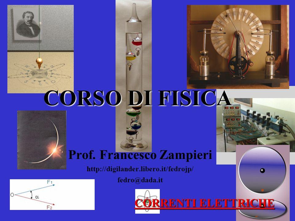 CORSO DI FISICA Prof. Francesco Zampieri http://digilander.libero.it/fedrojp/ fedro@dada.it CORRENTI ELETTRICHE