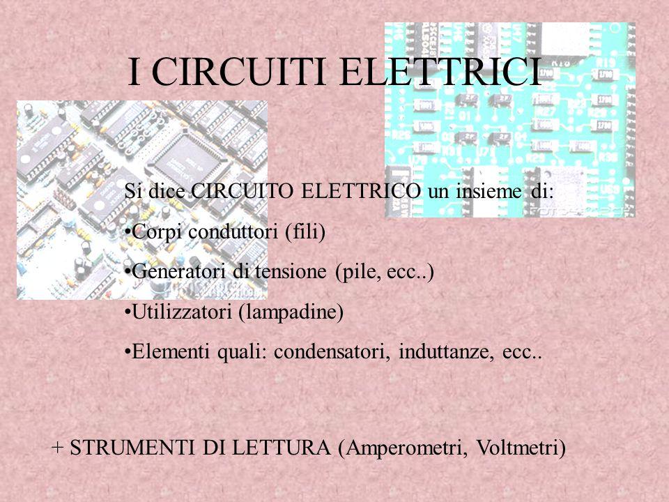 I CIRCUITI ELETTRICI Si dice CIRCUITO ELETTRICO un insieme di: Corpi conduttori (fili) Generatori di tensione (pile, ecc..) Utilizzatori (lampadine) E