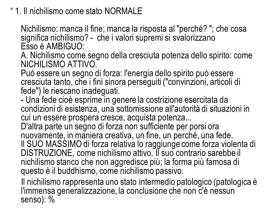 1. Il nichilismo come stato NORMALE Nichilismo: manca il fine; manca la risposta al