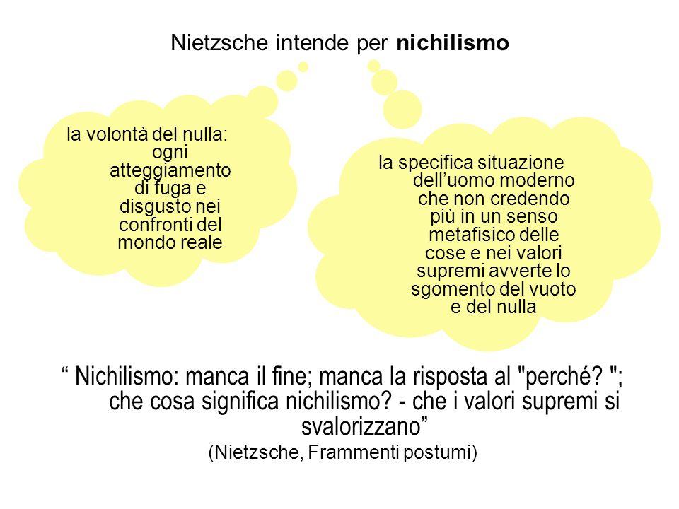 Nietzsche intende per nichilismo Nichilismo: manca il fine; manca la risposta al