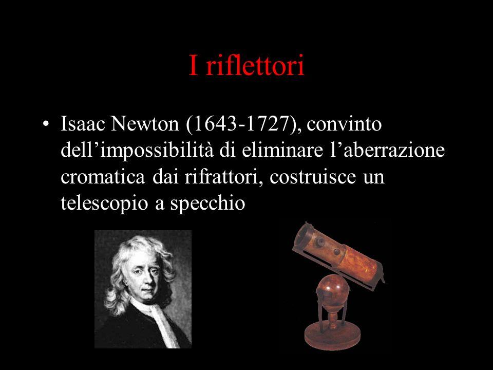 I riflettori Isaac Newton (1643-1727), convinto dellimpossibilità di eliminare laberrazione cromatica dai rifrattori, costruisce un telescopio a specc